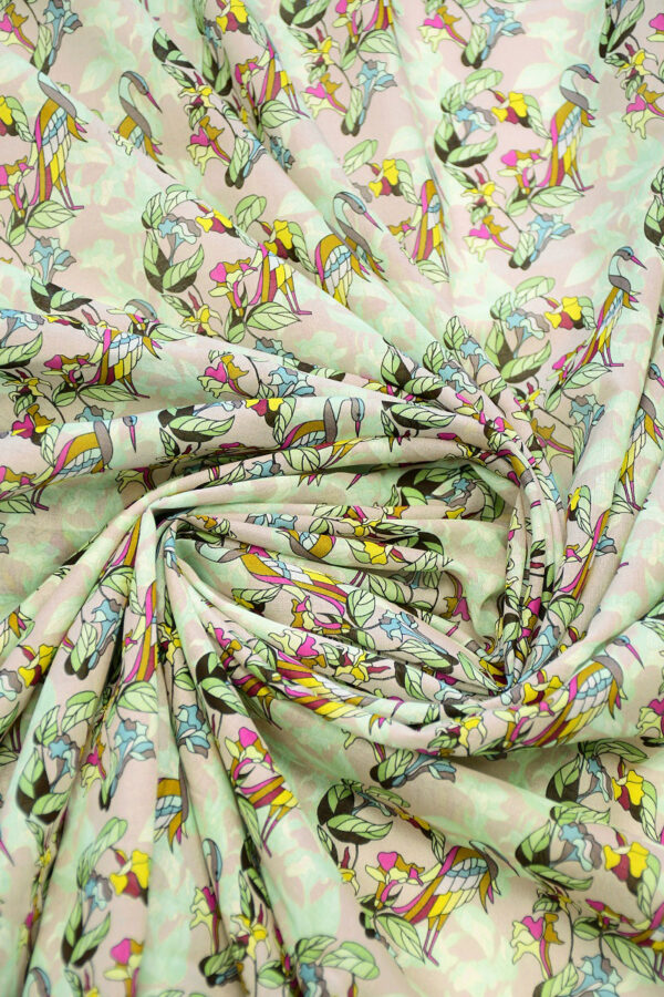 Хлопок розовый с журавлями и цветами (10316) - Фото 8
