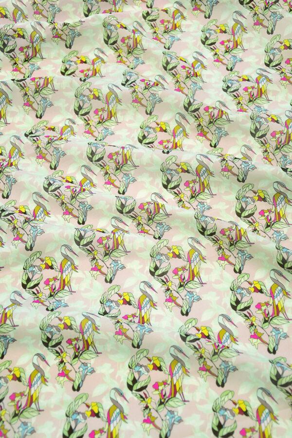 Хлопок розовый с журавлями и цветами (10316) - Фото 6