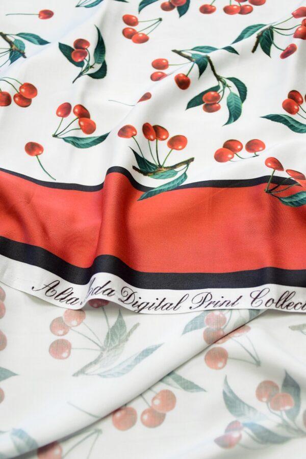 Штапель белый с вишней и красной каймой (10317) - Фото 8