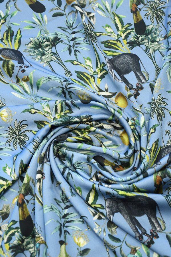 Штапель темно-голубой с животными (10319) - Фото 8