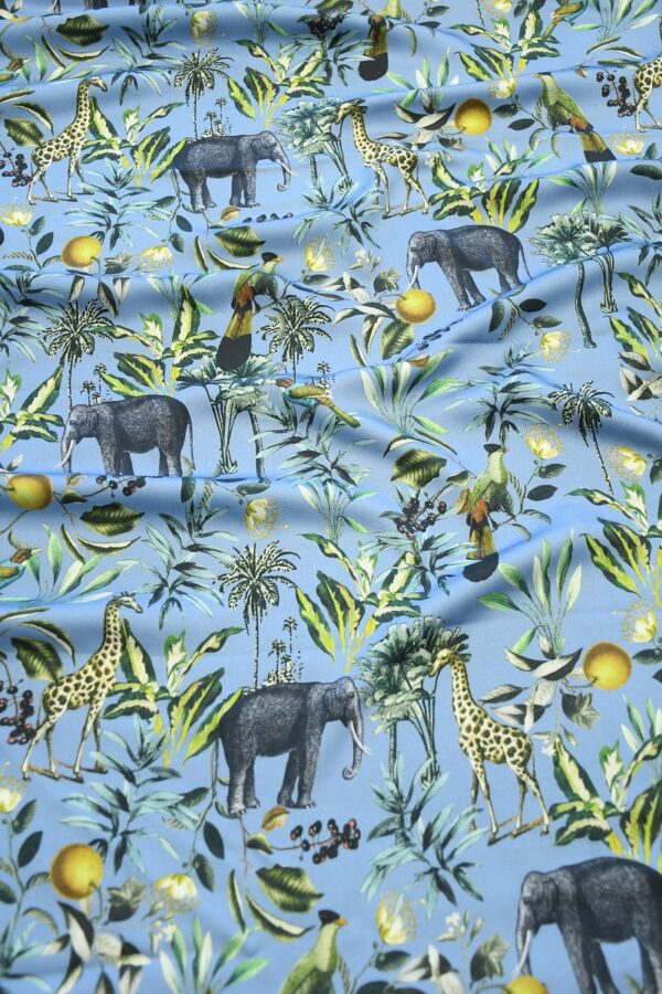Штапель темно-голубой с животными (10319) - Фото 6