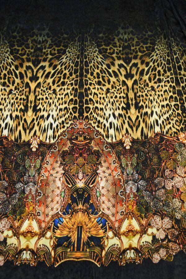 Бархат купон черный с леопардом и украшениями (10321) - Фото 11