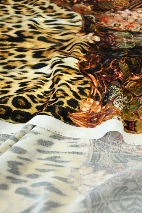 Бархат купон черный с леопардом и украшениями (10321) - Фото 9