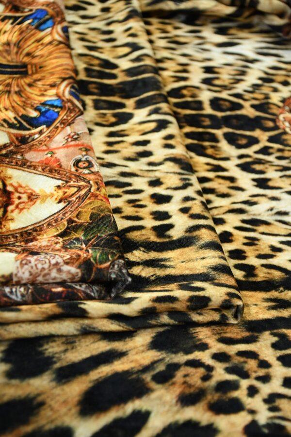 Бархат купон черный с леопардом и украшениями (10321) - Фото 10