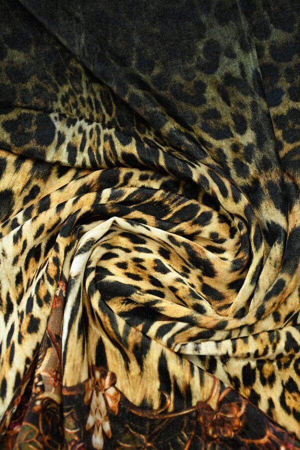 Бархат купон черный с леопардом и украшениями (10321) - Фото 8