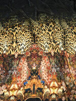 Бархат купон черный с леопардом и украшениями (10321) - Фото 18