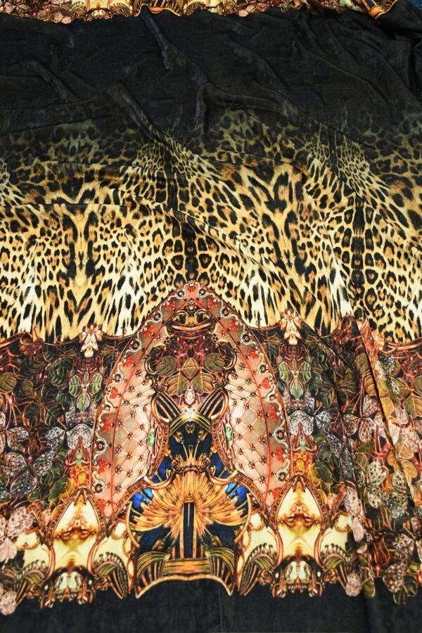Бархат купон черный с леопардом и украшениями (10321) - Фото 6