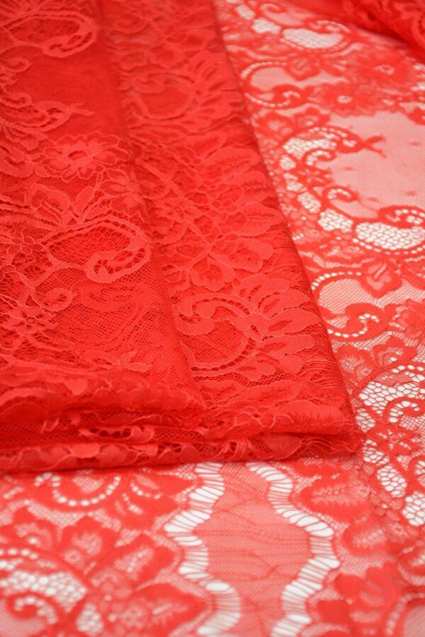Кружево стрейч ярко-красное с цветами (10328) - Фото 8