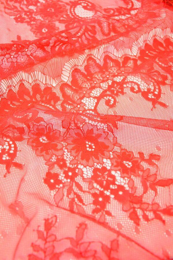 Кружево стрейч ярко-красное с цветами (10328) - Фото 9