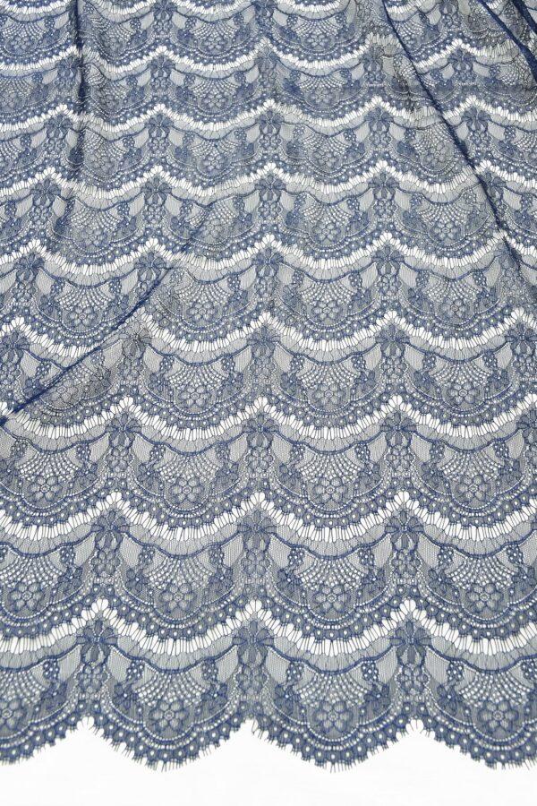 Кружево темно-синее с цветами (10329) - Фото 12