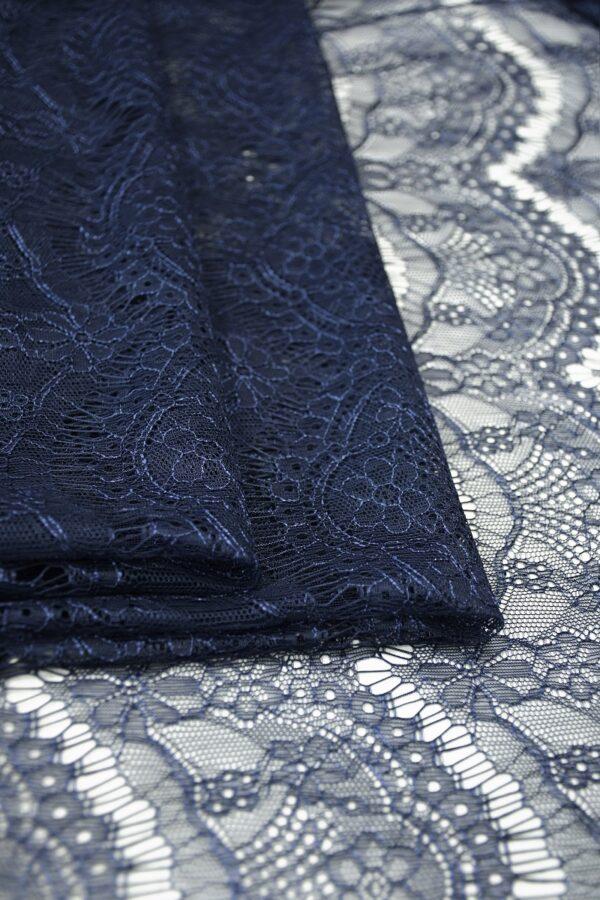 Кружево темно-синее с цветами (10329) - Фото 10