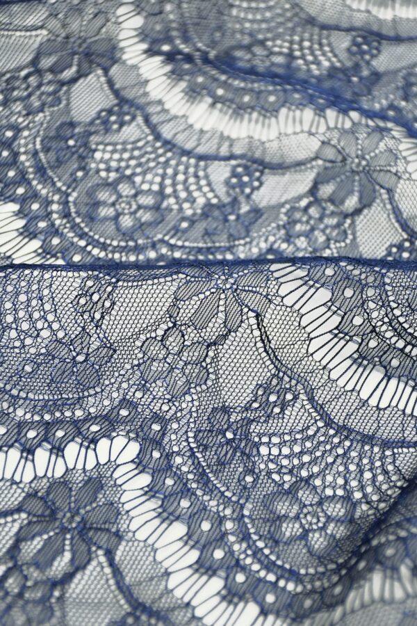 Кружево темно-синее с цветами (10329) - Фото 11