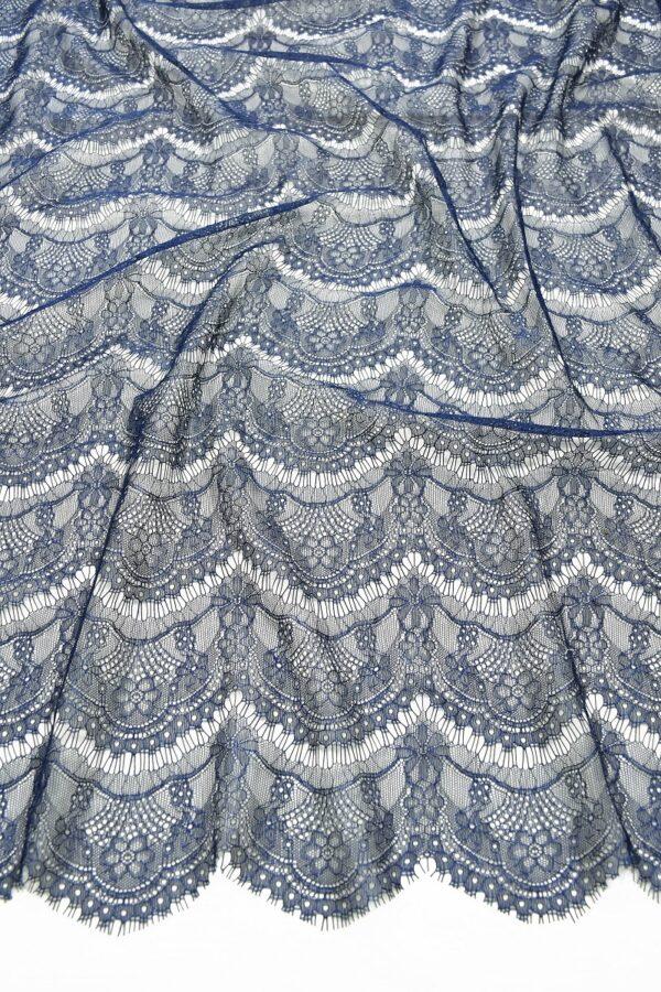 Кружево темно-синее с цветами (10329) - Фото 6
