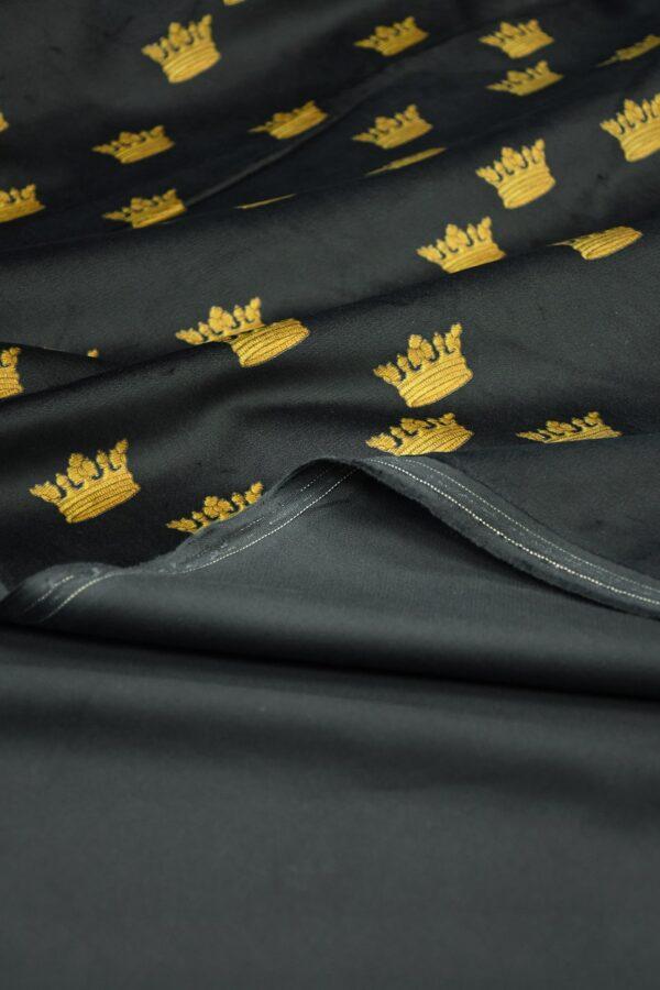 Бархат хлопковый черный с коронами 4