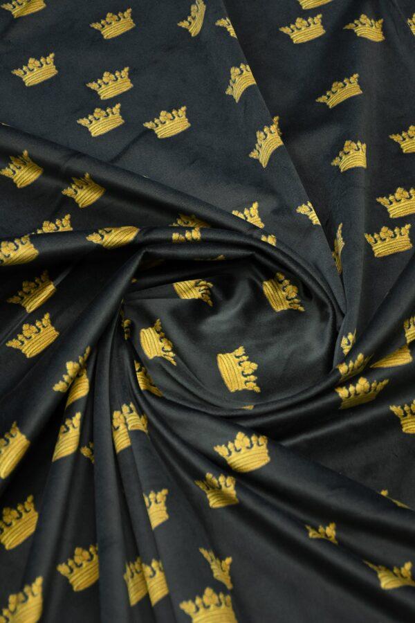 Бархат хлопковый черный с коронами 3