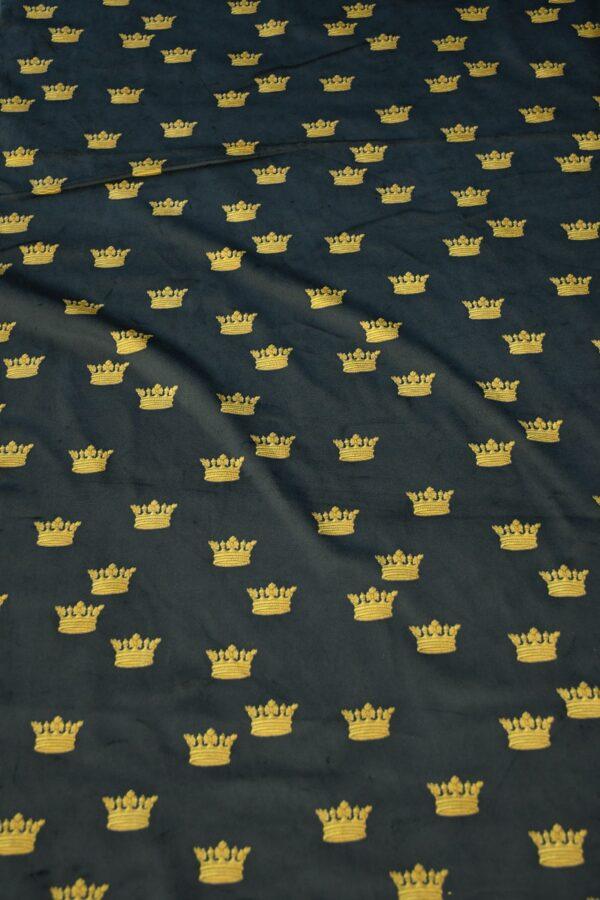 Бархат хлопковый черный с коронами 6