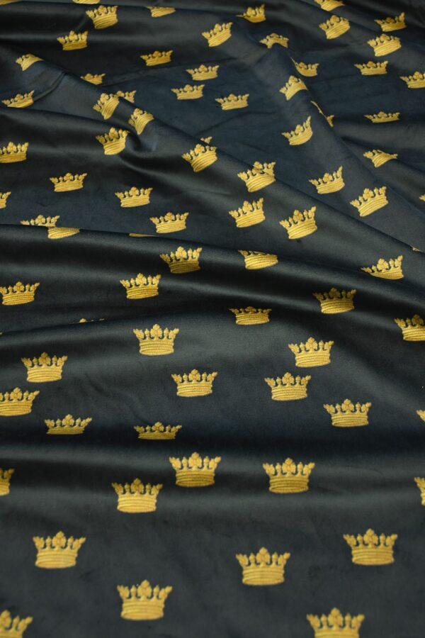 Бархат хлопковый черный с коронами