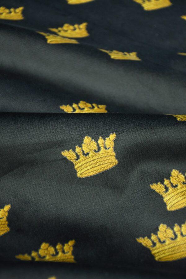 Бархат хлопковый черный с коронами 5