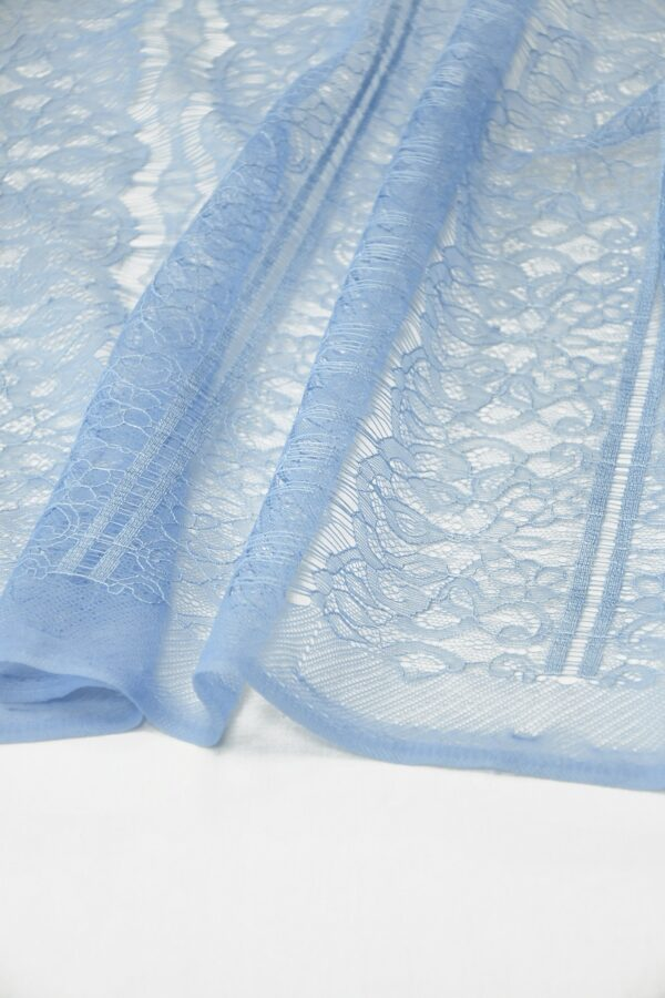 Кружево нежно-голубое с цветами и полоской (10331) - Фото 11