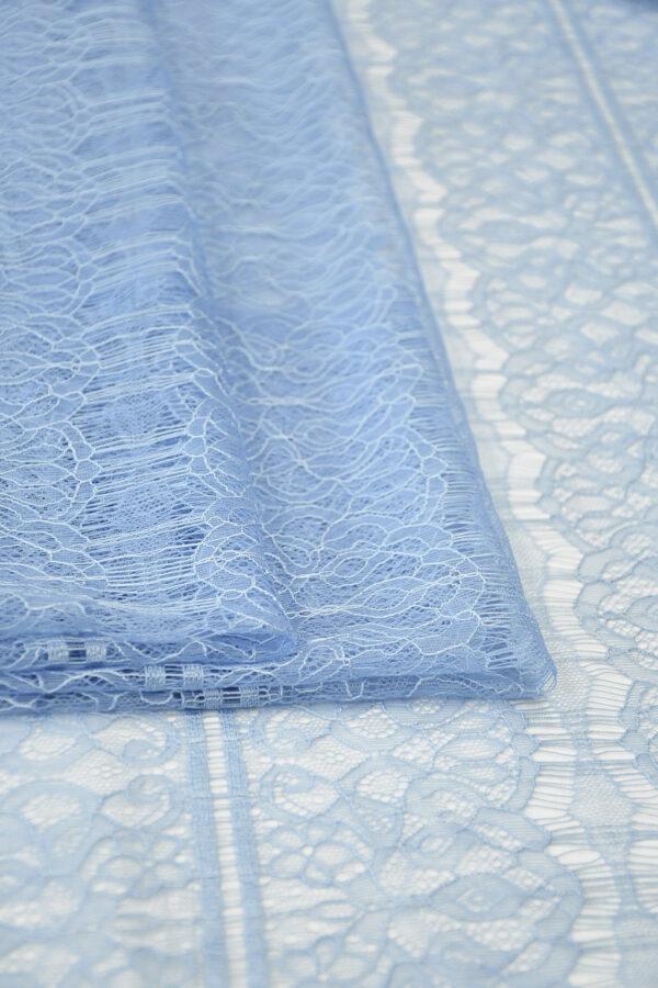 Кружево нежно-голубое с цветами и полоской (10331) - Фото 9