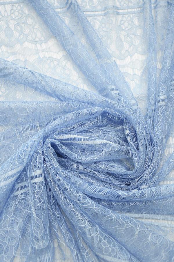 Кружево нежно-голубое с цветами и полоской (10331) - Фото 8