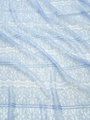 Кружево нежно-голубое с цветами и полоской (10331) - Фото 12