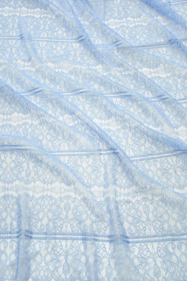 Кружево нежно-голубое с цветами и полоской (10331) - Фото 6
