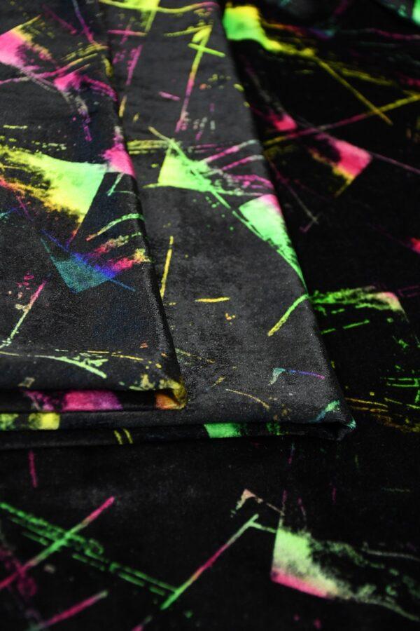 Бархат шелковый черный с разноцветными пятнами (10332) - Фото 10