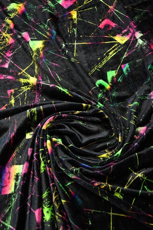 Бархат шелковый черный с разноцветными пятнами (10332) - Фото 8