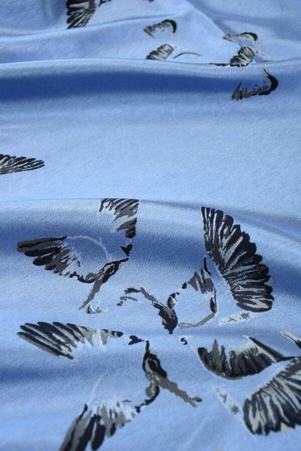 Жаккард голубой с птицами 5