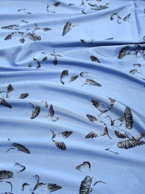 Жаккард голубой с птицами