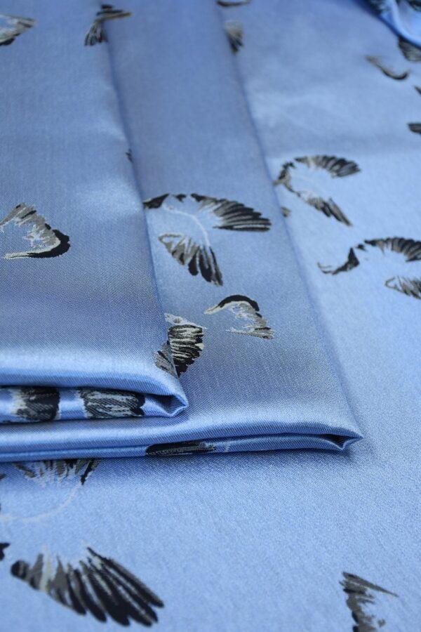 Жаккард голубой с птицами 2