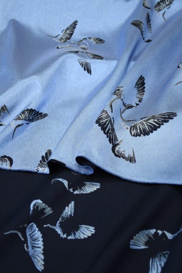 Жаккард голубой с птицами 4
