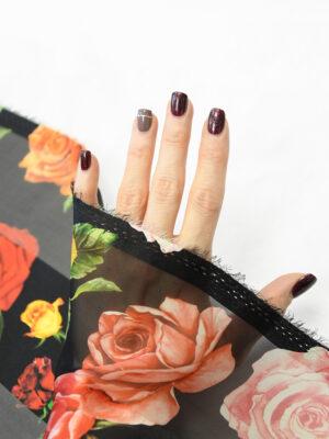 Шифон деворе черный в полоску и с розами (10337) - Фото 23