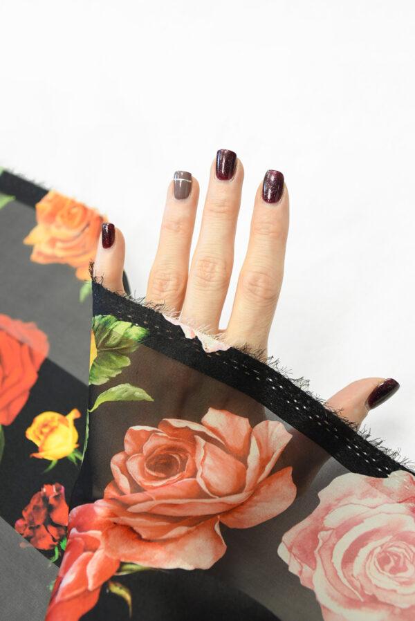 Шифон деворе черный в полоску и с розами (10337) - Фото 7