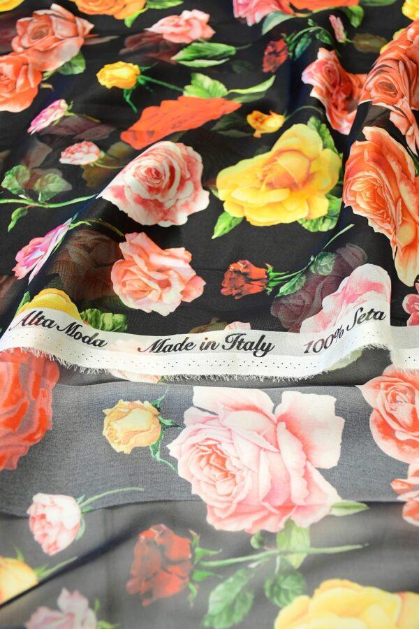 Шифон деворе черный в полоску и с розами (10337) - Фото 9