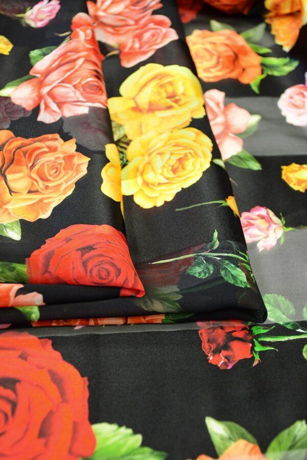 Шифон деворе черный в полоску и с розами (10337) - Фото 10