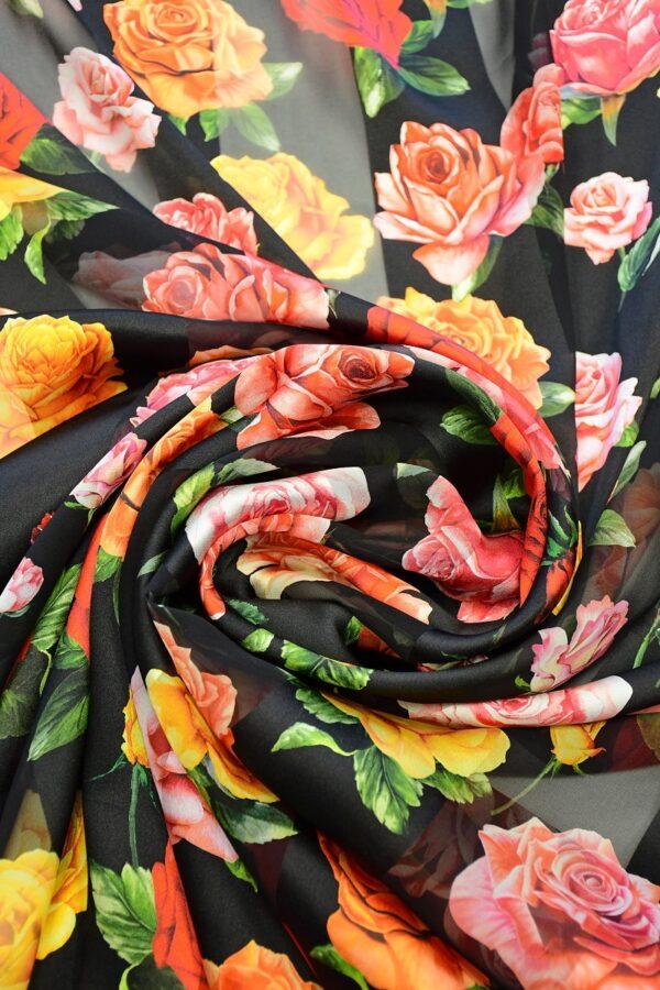 Шифон деворе черный в полоску и с розами (10337) - Фото 8