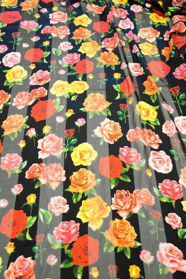 Шифон деворе черный в полоску и с розами (10337) - Фото 11