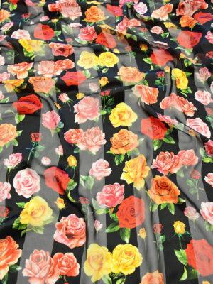 Шифон деворе черный в полоску и с розами (10337) - Фото 22