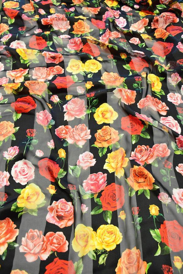 Шифон деворе черный в полоску и с розами (10337) - Фото 6