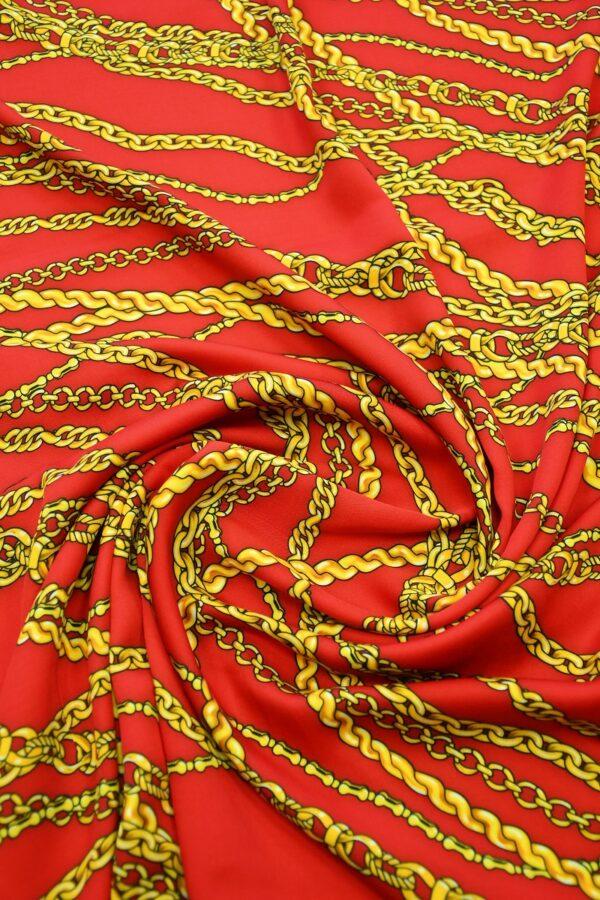 Штапель красный с желтыми цепями 2