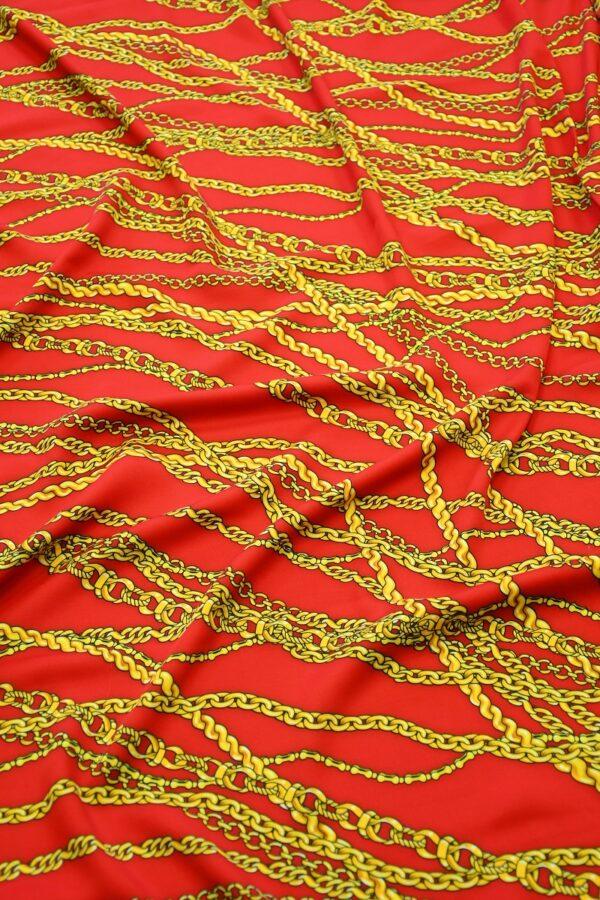 Штапель красный с желтыми цепями