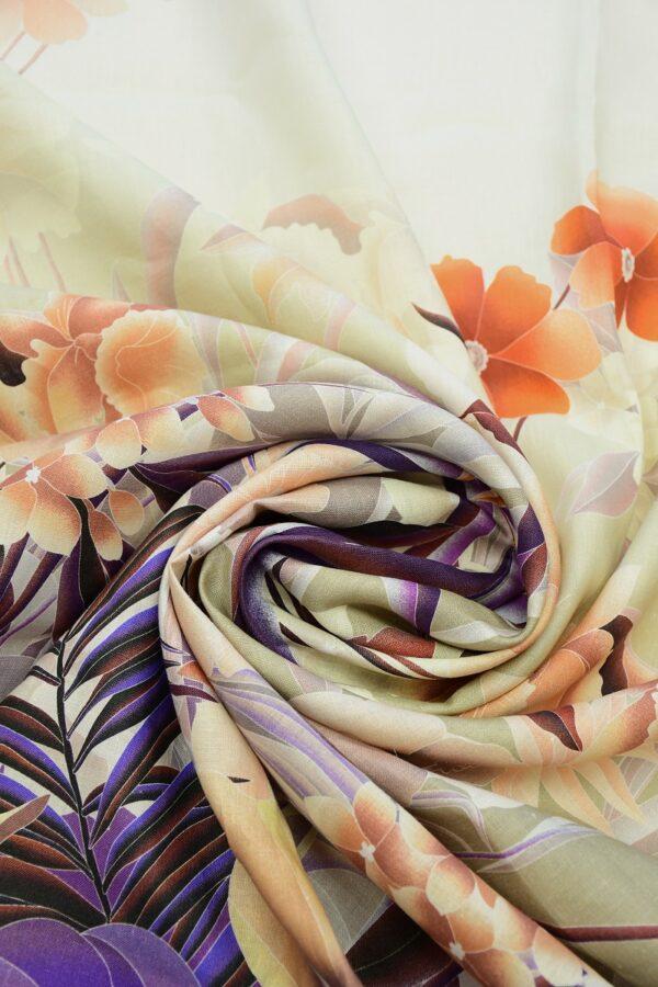 Лен с купоном оранжевые цветы на фиолетовом (10342) - Фото 10