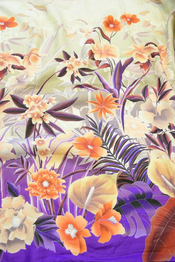 Лен с купоном оранжевые цветы на фиолетовом (10342) - Фото 6