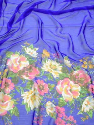 Шифон креш ярко-синий с каймой из цветов (10348) - Фото 18