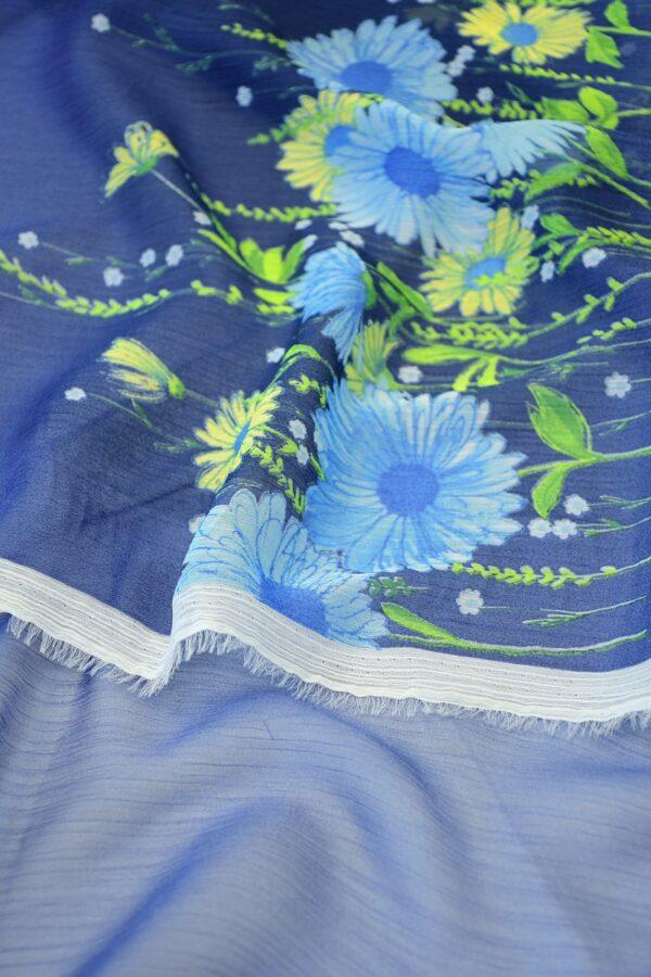 Шифон креш купон синий с цветочной каймой (10356) - Фото 9