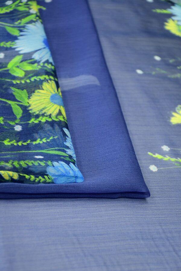 Шифон креш купон синий с цветочной каймой (10356) - Фото 10