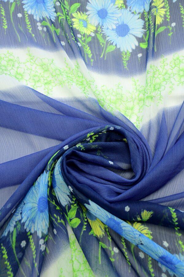 Шифон креш купон синий с цветочной каймой (10356) - Фото 8