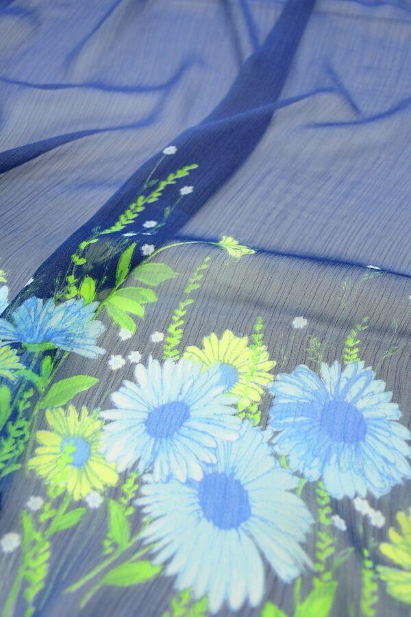 Шифон креш купон синий с цветочной каймой (10356) - Фото 11